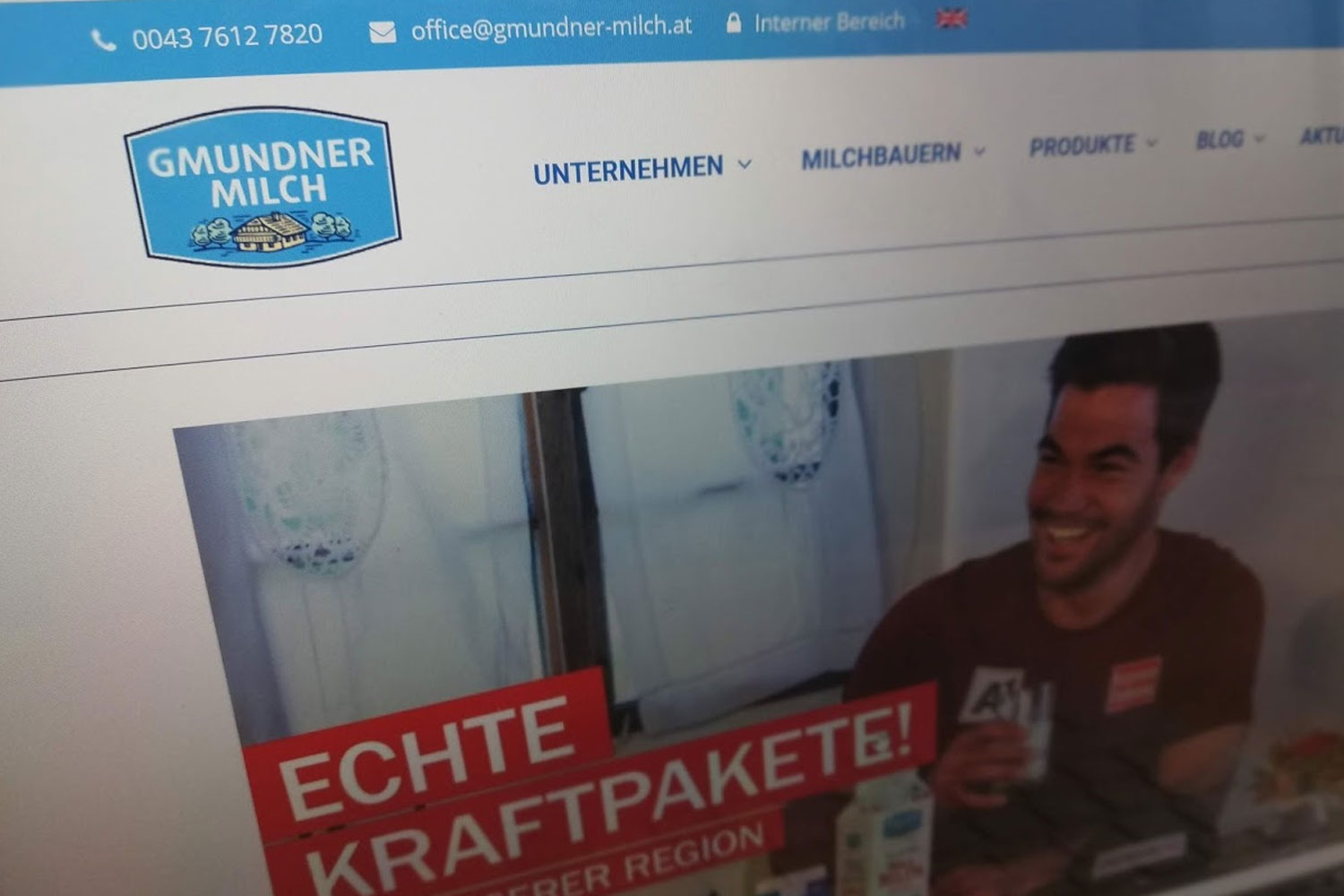 Screenshot Website Gmundner Milch