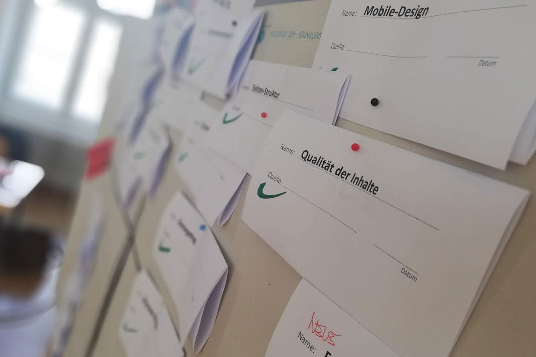 Pinnwand mit Workshop Ergebnissen