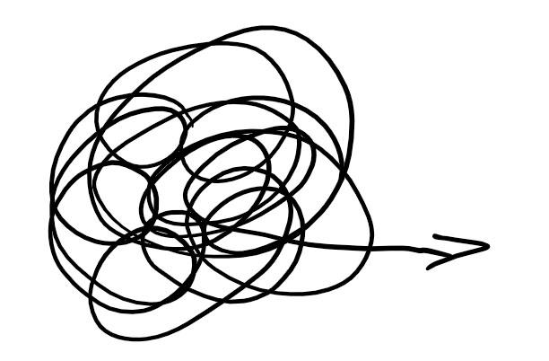 Linien-Knäuel mit Pfeil heraus
